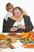 Woman Trying To Stop Man From Overeating — Stock Photo