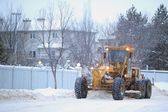 Snowplow Removes Snow Off A Street. Edmonton, Alberta, Canada — Stock Photo