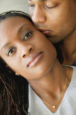 Afro american couple kissing — Stock Photo