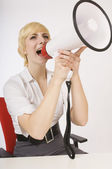 Blond Yelling Into A Bullhorn — Stock fotografie