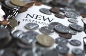 New Testament Bible And Money — Stock Photo