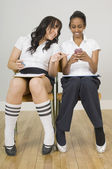 Two Students Sitting In School Chairs — Stock Photo