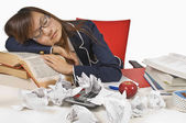 Teenage Student Sleeping At Her Desk — Stock Photo
