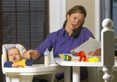 Young Mother Working From Home — Stock Photo