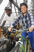 Cyclists On A Bridge — ストック写真