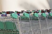 Rows Of Shopping Trolleys Outside Supermarket — Stock Photo