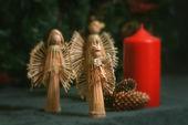 Bougies et décorations de noël ange — Photo