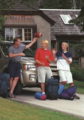 Father And Sons With Camping Gear By Car — Stock Photo