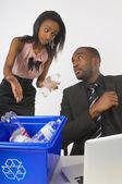 Woman Explaining Recycling Procedures To Businessman — Stock Photo