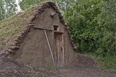 Primitive Dwelling With Sod Roof — Stock Photo