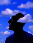 Silhouette Of Man's Head With Cloud Background — Stock Photo