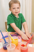 Young Boy Finger Painting — Stock Photo