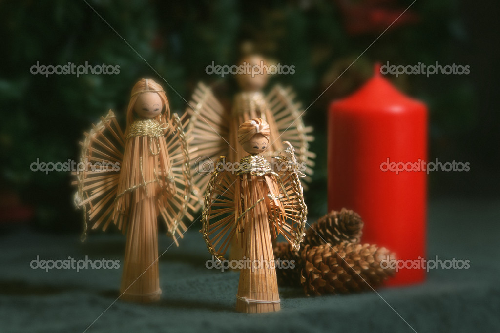 christmas angel decorations and candle stock image - Angel Decorations