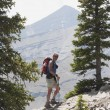 Man Hiking On A Mountain Path — Stock Photo