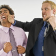 Businessman Punching Another Businessman In The Face — Stock Photo