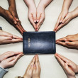 Praying Hands Pointing To Bible — Stock Photo #31940329