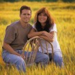 Couple In Autumn Field — Stock Photo