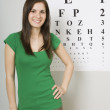 Woman Standing Beside Eye Chart — Stock Photo