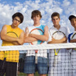 Stock Photo: Group Of Tennis Players On Court