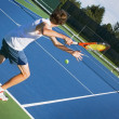 Two Tennis Players Competing — Foto de Stock