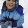 Little Boy Playing In The Snow — Stock Photo