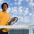 Tennis Player Alone On A Court — Foto de Stock