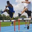 Men run to speed steeplechase — Stock Photo