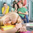 Female College Student Exhausted And Falling Asleep — Stock Photo