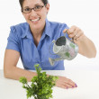 Woman Watering A Small Potted Plant — Stok fotoğraf