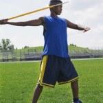 Man With Javelin On Field — Stock Photo