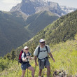 Couple Hiking Trail On Centennial Ridge, Kananaskis Country, Alberta, Canada — Stock Photo