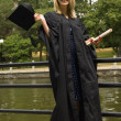 Young Woman With Diploma On Graduation Day — Stockfoto