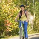 Cyclist Riding On Bike Path — Stock Photo