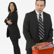Stock Photo: Laid Off BusinessmCarrying Box Of Office Supplies