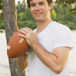 Teenage Boy Holding A Football — Stock Photo