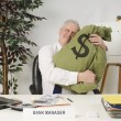 Bank Manager Hugging Bag Of Money — Stock Photo