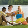 Stock Photo: Three Friends Having A Picnic By The Water