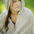 Stock Photo: WomWearing Knit Cape