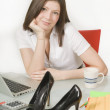 Businesswoman Sitting At Desk — Foto Stock
