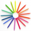 Rainbow Pattern Of Wax Sticks — Stock Photo