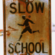 Stock Photo: Rusty School Zone Sign