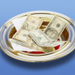 Stock Photo: American Money In A Church Offering Plate