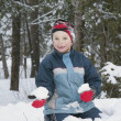 Stock Photo: Boy Holding Snowball