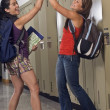 Two Girl Friends In Hallway At School — Stock Photo