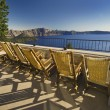 Lounge Chairs Overlooking Crater Lake. — Stock Photo
