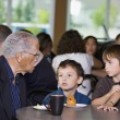 Grandfather And Grandsons Visiting Together — Stock Photo