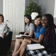 Women Talking And Laughing During A Bible Study — Stock Photo