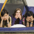 Group Of Teenagers In A Tent — Stock Photo