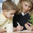 Mother Son Working At Table — Foto Stock