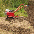Foto Stock: Motor Hoe In Partly Ploughed Field